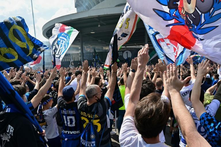 Thousands of Inter fans gathered outside the San Siro stadium