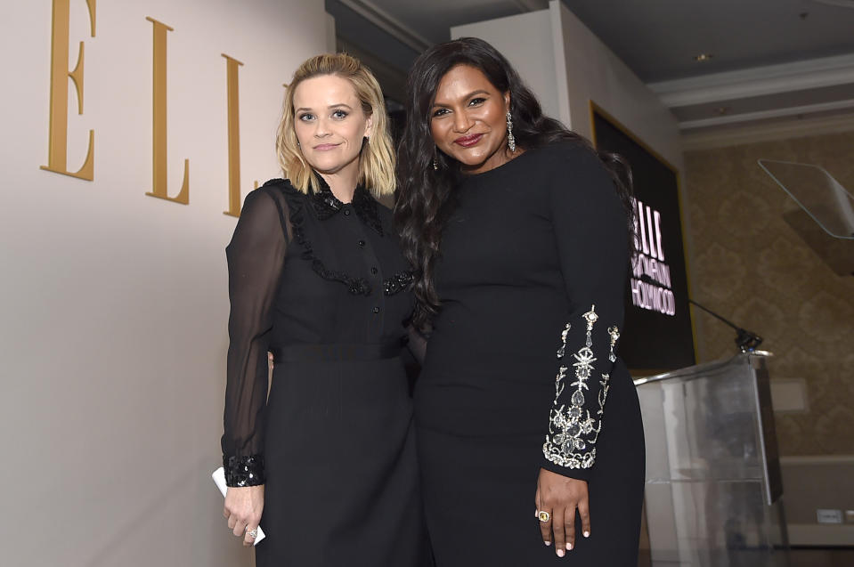 LOS ANGELES, CALIFORNIA - OCTOBER 14: Reese Witherspoon and Mindy Kaling pose onstage during ELLE's 26th Annual Women In Hollywood Celebration Presented By Ralph Lauren And Lexus at The Four Seasons Hotel Los Angeles on October 14, 2019 in Beverly Hills, California. (Photo by Stefanie Keenan/Getty Images for ELLE)