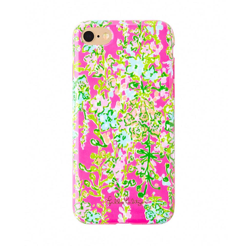 "<p>$34 | <a rel=""nofollow"" href='https://www.lillypulitzer.com/product/accessories-shoes/technology/iphone-7-classic-cover-southern-charm/pc/61/c/248/9872.uts?swatchName=Flamingo+Pink+Southern+Charm+Tech'>Lilly Pulitzer</a></p>"