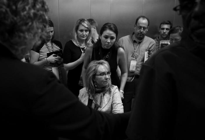 <p>Rep. Gabby Giffords is seen in an elevator Tuesday, July 26, 2016, in Philadelphia, PA. (Photo: Khue Bui for Yahoo News) </p>