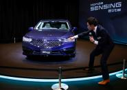 FILE PHOTO: Honda Motor Co. Ltd's all-new Legend sedan is seen during an unveiling in Tokyo