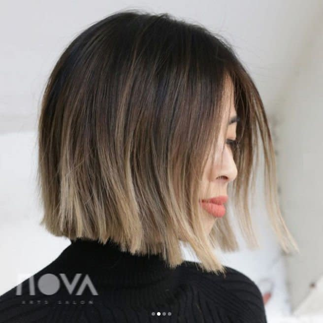 <p>This modern take on ombré hair color only grazes the very ends, giving a classic mocha base a subtle pop of color to keep things interesting.</p>