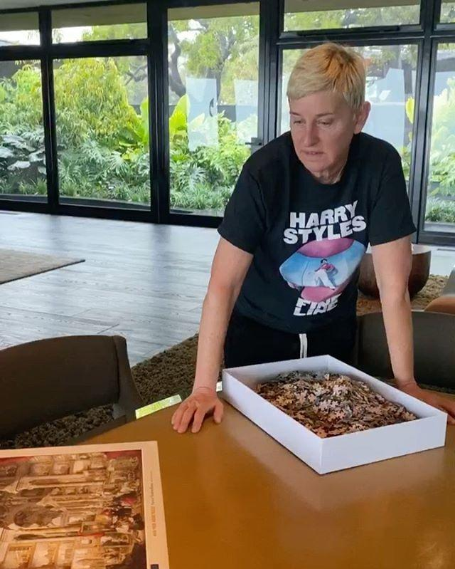 "<p>While The Ellen Show, among a long list of others, has suspended production amid the outbreak, Ellen has set her mind to other activities, including this mammoth 4000 piece puzzle. </p><p>Side note: Is that a Harry Styles t-shirt we see her wearing?</p><p><a href=""https://www.instagram.com/p/B9znvMchx55/"" rel=""nofollow noopener"" target=""_blank"" data-ylk=""slk:See the original post on Instagram"" class=""link rapid-noclick-resp"">See the original post on Instagram</a></p>"