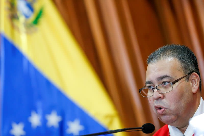 Judges of the constitutional section of Venezuela's Supreme Court attend a meeting, in Caracas