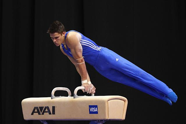 ST. LOUIS, MO - JUNE 9: Chris Brooks competes on the pummel horse during the Senior Men's competition on Day Three of the Visa Championships at Chaifetz Arena on June 9, 2012 in St. Louis, Missouri. (Photo by Dilip Vishwanat/Getty Images)