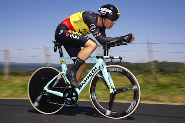 Jumbo-Visma's Wout van Aert may hold on to his Belgian time trial champion's colours for a little longer due to the news that the 2020 national championships will be postponed