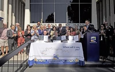 Dozens of elected and transportation officials participated in the contract signing on October 4, 2019.