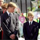 <p>Princes William and Harry at Westminster Abbey for the funeral of the Diana, the Princess of Wales in September 1997. His life changed dramatically that year. (Anwar Hussein)</p>