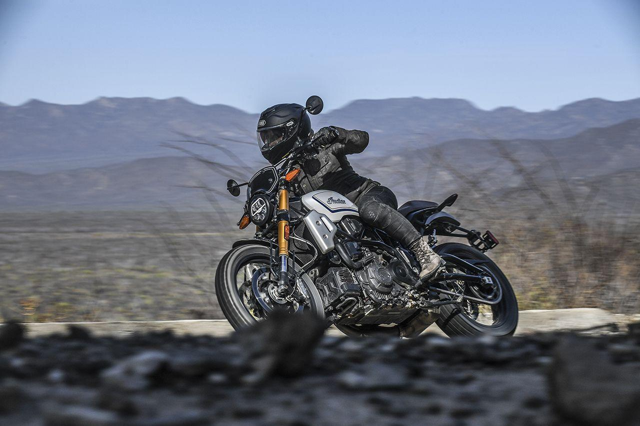 <p>The lean angle of the FTR 1200 is a respectable 43 degrees.  Despite the slightly knobby profile of the Dunlop DT3-R radial, the tires grip well on pavement.</p>