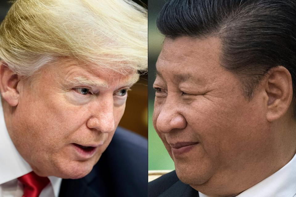 """(COMBO) This combination of pictures created on May 14, 2020 shows recent portraits of   China's President Xi Jinping (R) and US President Donald Trump. - US President Donald Trump said on May 14, 2020, he is no mood to speak with China's Xi Jinping, warning darkly he might cut off ties with the rival superpower over its handling of the coronavirus pandemic. """"I have a very good relationship, but I just -- right now I don't want to speak to him,"""" Trump told Fox Business. (Photos by Brendan Smialowski and Fred DUFOUR / AFP) (Photo by BRENDAN SMIALOWSKI,FRED DUFOUR/AFP via Getty Images)"""