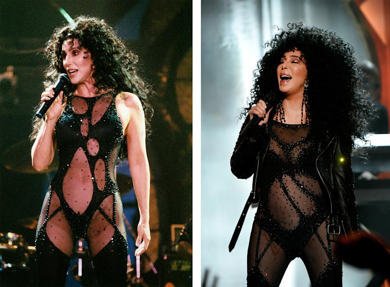 Cher channeled a look she wore at a past awards show.