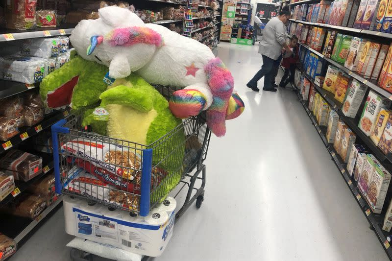 A shopping cart sits filled with items during a sales event on Thanksgiving day at Walmart in Westbury, New York
