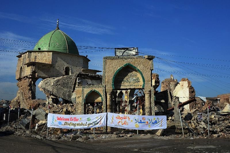 Religious leaders have laid the first stone to rebuild the iconic Al-Nuri mosque as part of efforts to revive Mosul (AFP Photo/Zaid AL-OBEIDI)