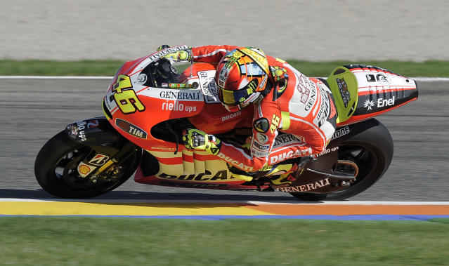 Ducati Team's Italian Valentino Rossi rides his 1000cc motorcycle during a Moto GP practice session at Ricardo Tormo racetrack in Cheste,near Valencia, on November 8, 2011. AFP PHOTO / JOSE JORDAN (Photo credit should read JOSE JORDAN/AFP/Getty Images)