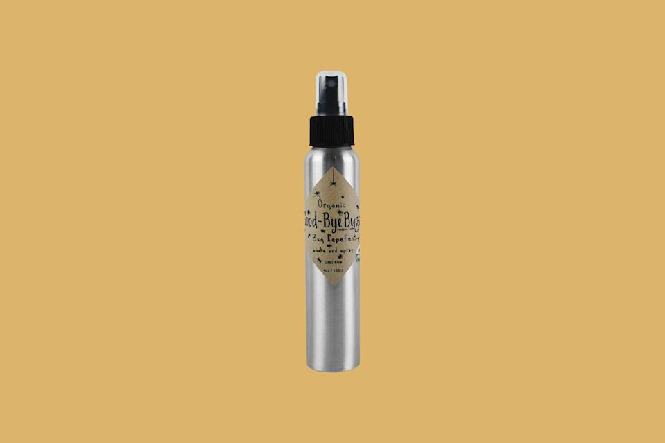 """<p>The only thing better than a chemical-free insect repellent is one that comes in an <a href=""""https://www.marthastewart.com/2124269/scotch-flex-and-seal-package-eco-friendly"""" rel=""""nofollow noopener"""" target=""""_blank"""" data-ylk=""""slk:eco-friendly package"""" class=""""link rapid-noclick-resp"""">eco-friendly package</a>. This certified organic spray is made with mosquito-fighting ingredients, including apple cider vinegar and citronella oil, and comes in a sustainable aluminum bottle (and ships without any wasteful packaging) to boot.</p> <p><strong><em>Shop Now: </em></strong><em>Triple J Farm NY Good-Bye Bugs Organic Tick and Bug Spray, $20</em><em>, <a href=""""https://packagefreeshop.com/products/good-bye-bugs-4-oz-bug-spray"""" rel=""""nofollow noopener"""" target=""""_blank"""" data-ylk=""""slk:packagefreeshop.com"""" class=""""link rapid-noclick-resp"""">packagefreeshop.com</a></em><em>. </em></p>"""