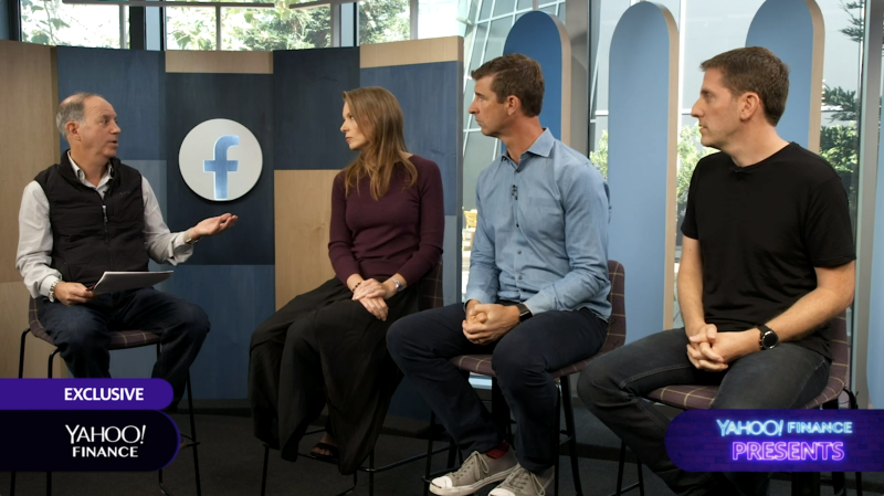 From left to right: Yahoo Finance Editor-in-Chief Andy Serwer; Facebook Head of Global Policy Management Monika Bickert; John DeVine, VP of Global Operations; and Guy Rosen, VP of Integrity.