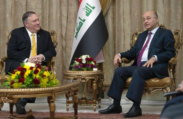 PHOTO: Secretary of State Mike Pompeo meets with Iraqi President Barham Salih, right, in Baghdad, Iraq, Jan. 9, 2019. (Andrew Caballero-Reynolds/Pool via AP)