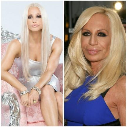 "<div class=""caption-credit""> Photo by: Source via OMG! Yahoo</div><div class=""caption-title"">Gina Gershon as Donatella Versace</div>Those pursed lips! That hair! Yes, I too had to do a double take on both the real and fake Donatella Versace here as they both look so similar! Gina Gershon is set to play Donatella in the upcoming Lifetime movie, House of Versace. I wonder how she's going to pull off Donatella's thick Italian accent in the movie, too? <br> <i><b><a rel=""nofollow"" target="""" href=""http://www.babble.com/entertainment/disney-stars-then-and-now-who-has-changed-the-most/?cmp=ELP