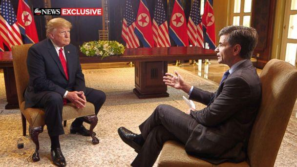 PHOTO: President Donald Trump sits with ABC News' George Stephanopoulos after a historic summit with North Korea's Kim Jong Un at the Capella Hotel on Sentosa island in Singapore, June 12, 2018. (ABC News)
