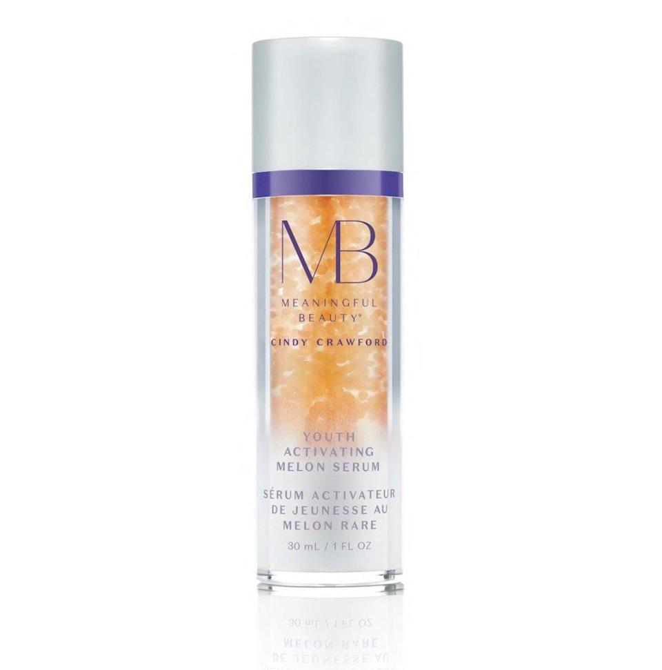 """""""I think most of us just want to maintain the way we look for as long as we can which is a realistic goal. Meaningful Beauty was really designed around this idea of age maintenance,"""" says Crawford, who applies this serum under her moisturizer. """"It just plumps the skin right back up."""" <strong>Buy It!</strong> $76; <a href=""""https://ulta.7eer.net/c/249354/164999/3037?subId1=PEO%2CCindyCrawfordRevealsHerBeautySecrets%2Cjackiefields2014%2CUnc%2CGal%2C7038468%2C201905%2CI&u=https%3A%2F%2Fwww.ulta.com%2Fyouth-activating-melon-serum%3FproductId%3DxlsImpprod16711025"""" rel=""""nofollow noopener"""" target=""""_blank"""" data-ylk=""""slk:ulta.com"""" class=""""link rapid-noclick-resp"""">ulta.com</a>"""