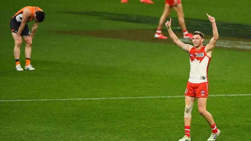 Will Hayward, pictured here celebrating after the Sydney Swans thrashed GWS in the AFL.