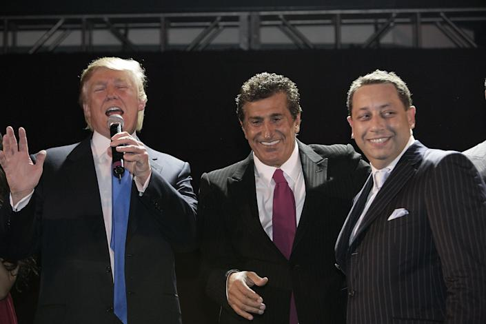 Donald Trump, Tevfik Arif and Felix Sater attend the Trump Soho Launch Party in 2007 in New York. (Photo: Mark Von Holden/WireImage)