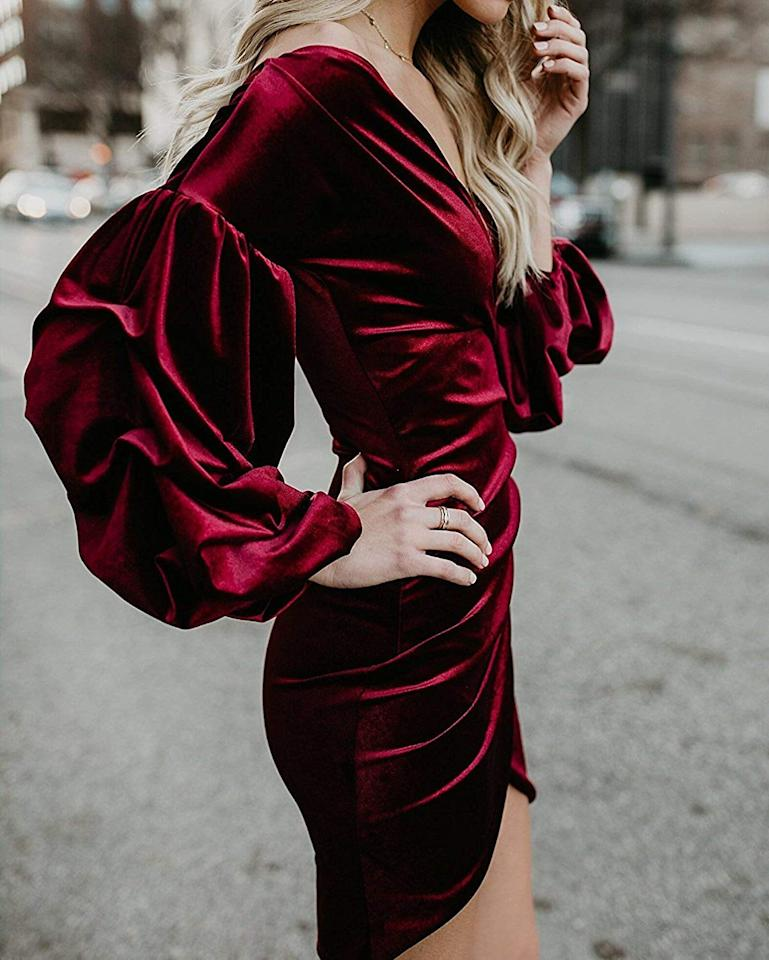 """<p>This <a href=""""https://www.popsugar.com/buy/Imily-Bela-Puff-Sleeve-Faux-Wrap-Dress-523513?p_name=Imily%20Bela%20Puff-Sleeve%20Faux-Wrap%20Dress&retailer=amazon.com&pid=523513&price=24&evar1=fab%3Auk&evar9=46947746&evar98=https%3A%2F%2Fwww.popsugar.com%2Ffashion%2Fphoto-gallery%2F46947746%2Fimage%2F46949316%2FImily-Bela-Puff-Sleeve-Faux-Wrap-Dress&list1=shopping%2Camazon%2Choliday%2Choliday%20fashion%2Cfashion%20shopping&prop13=api&pdata=1"""" rel=""""nofollow"""" data-shoppable-link=""""1"""" target=""""_blank"""" class=""""ga-track"""" data-ga-category=""""Related"""" data-ga-label=""""https://www.amazon.com/Imily-Bela-Womens-Shoulder-Cocktail/dp/B079M6M3RM/ref=pd_srecs_sabr_st_5/137-3889612-4203903?_encoding=UTF8&amp;pd_rd_i=B079M3G4R5&amp;pd_rd_r=afb03672-75a8-433e-9a8e-b53cddaf6c45&amp;pd_rd_w=hEVhO&amp;pd_rd_wg=dRCZ9&amp;pf_rd_p=45d59938-bfe8-411f-b436-e9d5a892354b&amp;pf_rd_r=W4V8QNCYD0812VYH61YC&amp;refRID=W4V8QNCYD0812VYH61YC&amp;th=1"""" data-ga-action=""""In-Line Links"""">Imily Bela Puff-Sleeve Faux-Wrap Dress</a> ($24) is perfect for a party.</p>"""