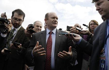 U.S. Senator Chris Coons (D-DE) talks to reporters after being briefed with other members of the Senate on North Korea at the White House in Washington, U.S, April 26, 2017. REUTERS/Kevin Lamarque