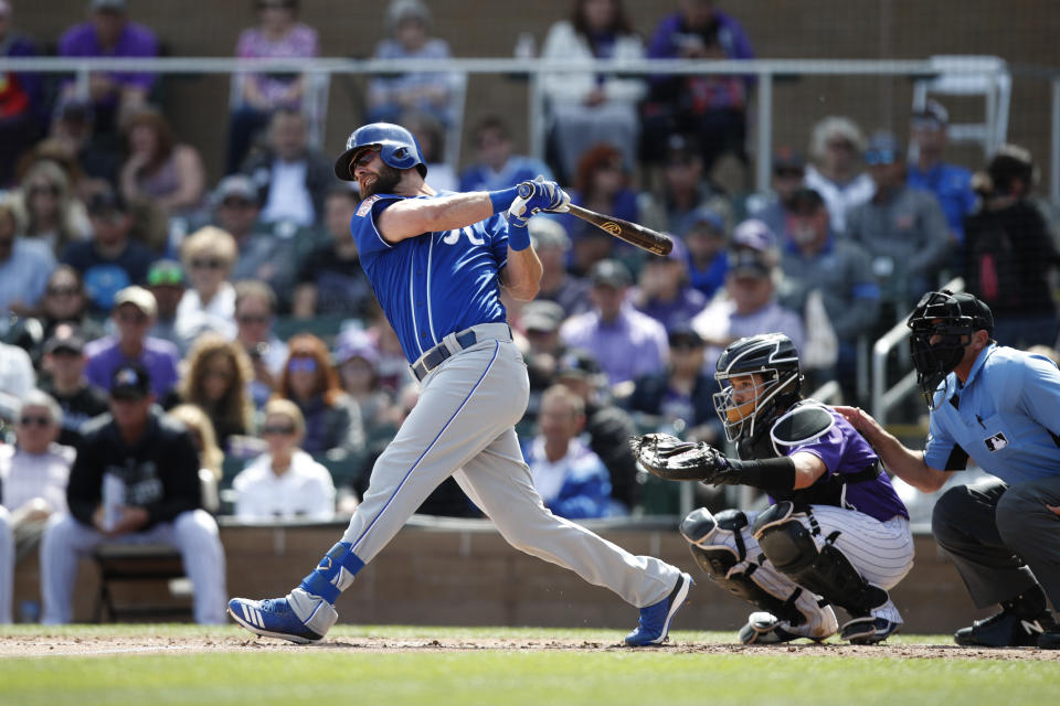 SCOTTSDALE, AZ - MARCH 15: Bubba Starling #11 of the Kansas City Royals makes some contact at the plate during the Spring Training game against the Colorado Rockies at Salt River Fields at Talking Stick on March 15, 2019 in Scottsdale, Arizona. (Photo by Mike McGinnis/Getty Images)