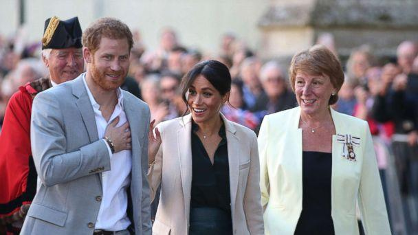 PHOTO: The Duke and Duchess of Sussex at Edes House, West Street, Chichester, as part of their first joint official visit to Sussex, Oct. 3, 2018. (Andrew Matthews/Press Association via AP)