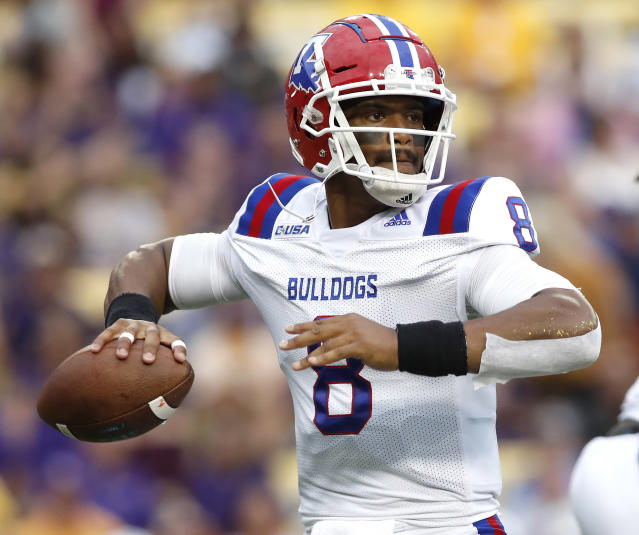 Louisiana Tech wide receiver Adrian Hardy (6) looks to pass the ball in the first half of an NCAA college football game against LSU in Baton Rouge, La., Saturday, Sept. 22, 2018. (AP Photo/Tyler Kaufman)
