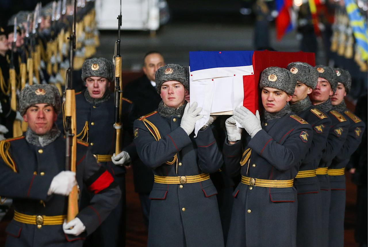 <p>The body of Russia's Ambassador to Turkey Andrey Karlov has been delivered to Vnukovo International Airport by a charter flight. Karlov was shot dead on Dec. 19, 2016 in Ankara's Contemporary Art Center. (Valery SharifulinTASS via Getty Images) </p>