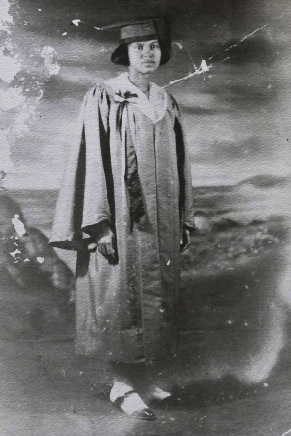 This photo provided by Carolyn Roberts of the Gibbs family shows Tulsa Race Massacre survivor Ernestine Alpha Gibbs in her 1923 high school graduation photo in Tulsa, Okla. (Courtesy Carolyn Roberts via AP)