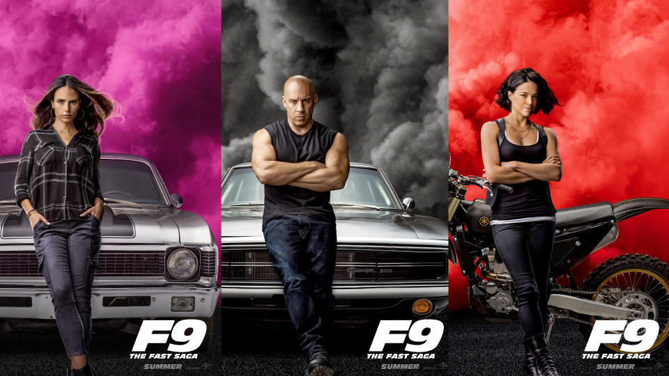 Jordana Brewster, Vin Diesel and Michelle Rodriguez in character posters for 'Fast & Furious 9'. (Credit: Universal(