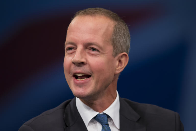 Nick Boles Minister of State for Skills speaks during the Conservative Party Conference, in Manchester, England, Monday Oct. 5, 2015. (AP Photo/Jon Super)