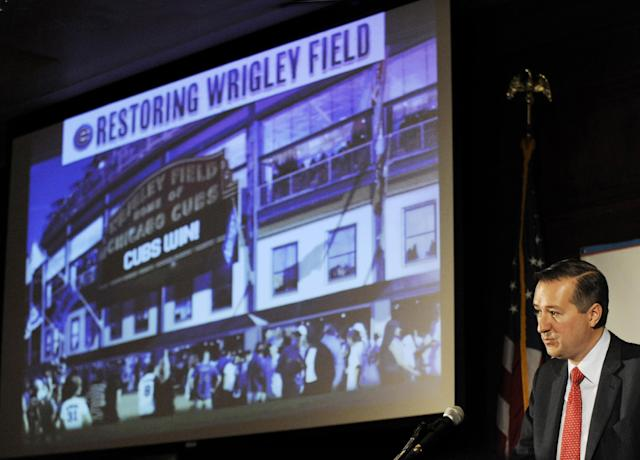 FILE - In this May 1, 2013, file photo, Chicago Cubs Chairman Tom Ricketts speaks in Chicago about proposed renovations at Wrigley Field. Wrigley Field has been the site of so much heartbreak that some fans who spend their whole lives waiting for a winner ask their families, if they can pull it off, to sneak their ashes inside to be scattered in the friendly confines, a final resting place to keep on waiting. But before years turned into decades and decades turned into a century without a World Series title, Wrigley Field was in first time and time again in changing the way we watch baseball and the experience for fans in ballparks around the country. Today, the Cubs are trying to play catch up with a project as dramatic as the one that resulted in a new scoreboard and brick outfield wall: a $500 million project that includes the kind of massive Jumbotron that towers over every other major league stadium. The historic ballpark will celebrate it's 100th anniversary on April 23, 2014. (A