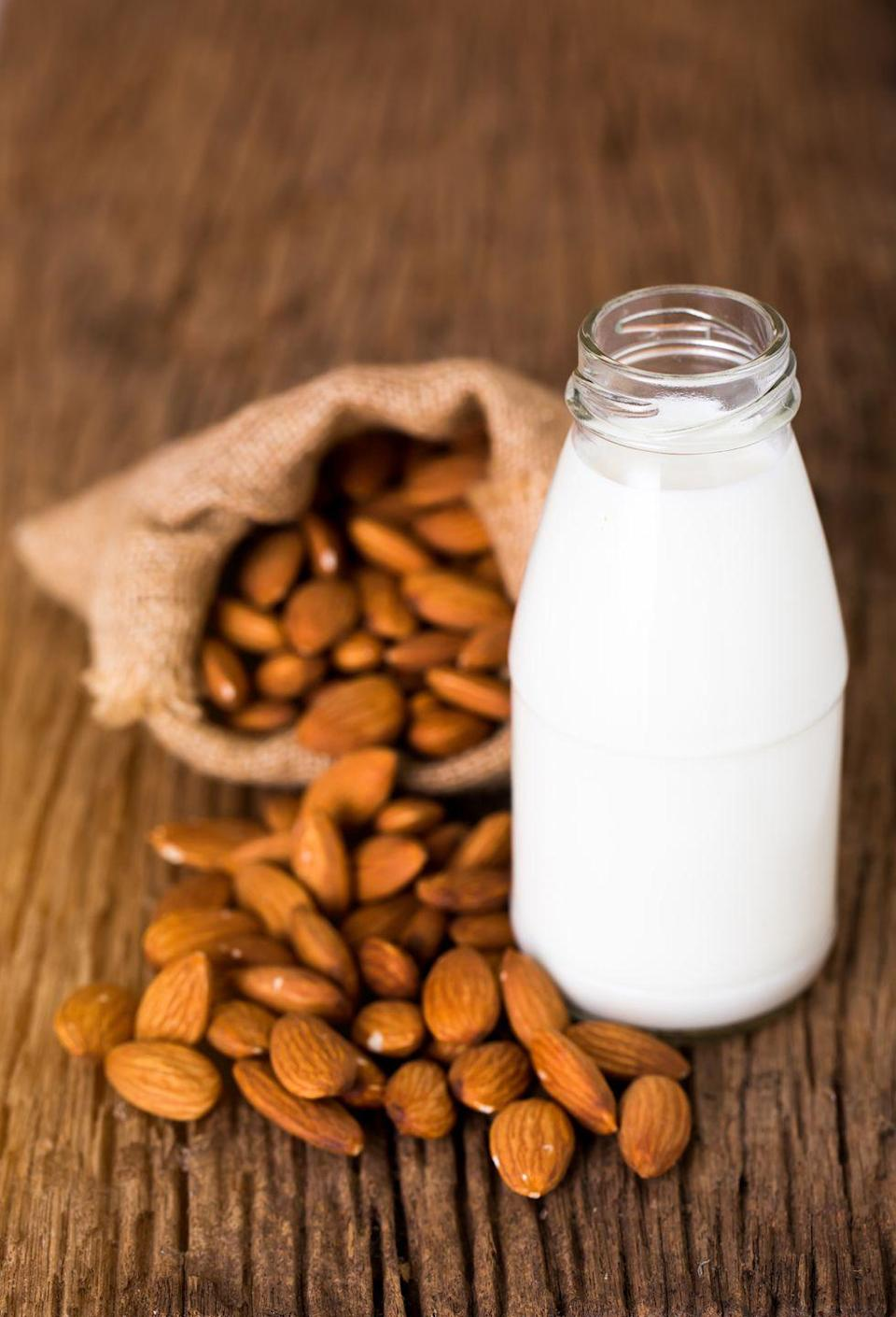 """<p>Total caveat: If you're lactose intolerant or vegan, nut milks can be a good non-dairy alternative. But the type of nut milk you choose matters. Many varieties are packed with sugar, making them anything but healthy, Upton says. If you love nut milks, make sure you opt for ones that specifically say """"unsweetened"""" on the label.</p>"""