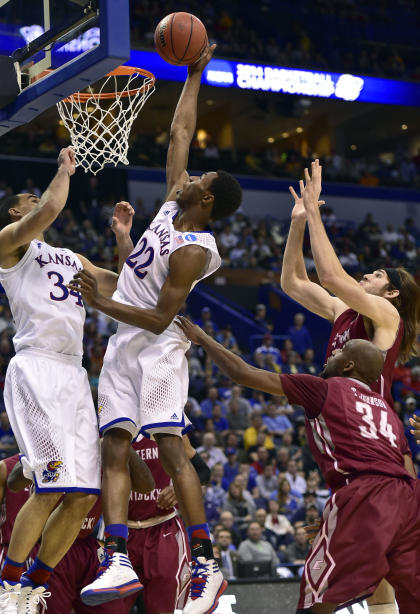 Andrew Wiggins (22) puts up a shot against Eastern Kentucky in the NCAA tourney. (USA TODAY Sports)