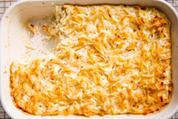 """<p>This traditional dish is sweet, but not too sweet, with a hint of cinnamon that'll make everyone ask for seconds.</p><p><em><a href=""""https://www.delish.com/cooking/recipe-ideas/a19473736/sweet-noodle-kugel-recipe/"""" rel=""""nofollow noopener"""" target=""""_blank"""" data-ylk=""""slk:Get the recipe from Delish »"""" class=""""link rapid-noclick-resp"""">Get the recipe from Delish »</a></em></p>"""