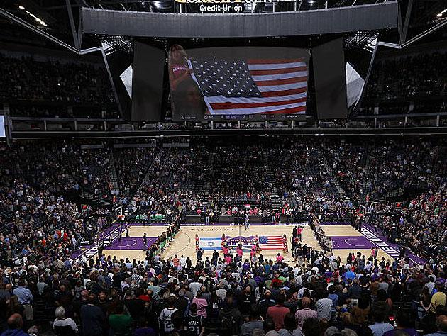 The view from the stands during the Anthem. (Getty Images)