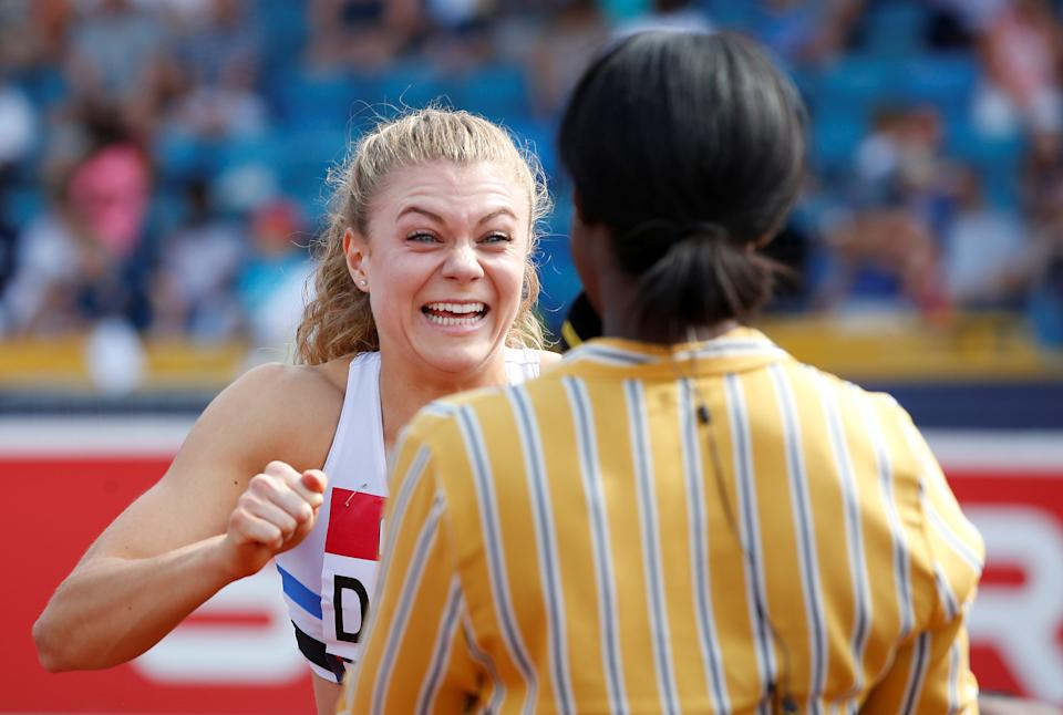 Beth Dobbin reacts after wining the women's 200m final at the 2018 British Championships and setting a new championship record (Picture: Reuters)