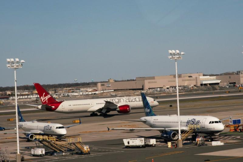 Planes are seen at the platform after the Federal Aviation Administration (FAA) temporarily halted flights arriving at New York City airports due to coronavirus disease (COVID-19) in New York