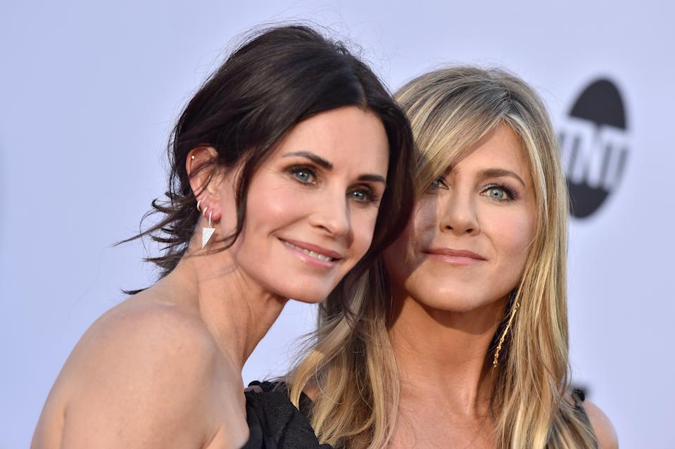 Courteney Cox and Jennifer Aniston arrive at the American Film Institute's 46th Life Achievement Award Gala Tribute to George Clooney on June 7, 2018 in Hollywood, California.  (Photo by Axelle/Bauer-Griffin/FilmMagic)