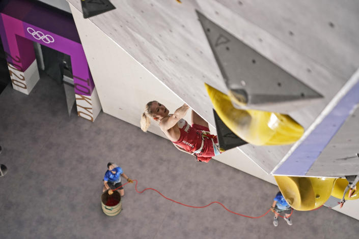 <p>Jessica Pilz, of Austria, climbs during the lead qualification portion of the women's sport climbing competition at the 2020 Summer Olympics, Wednesday, Aug. 4, 2021, in Tokyo, Japan. (AP Photo/Jeff Roberson, POOL)</p>