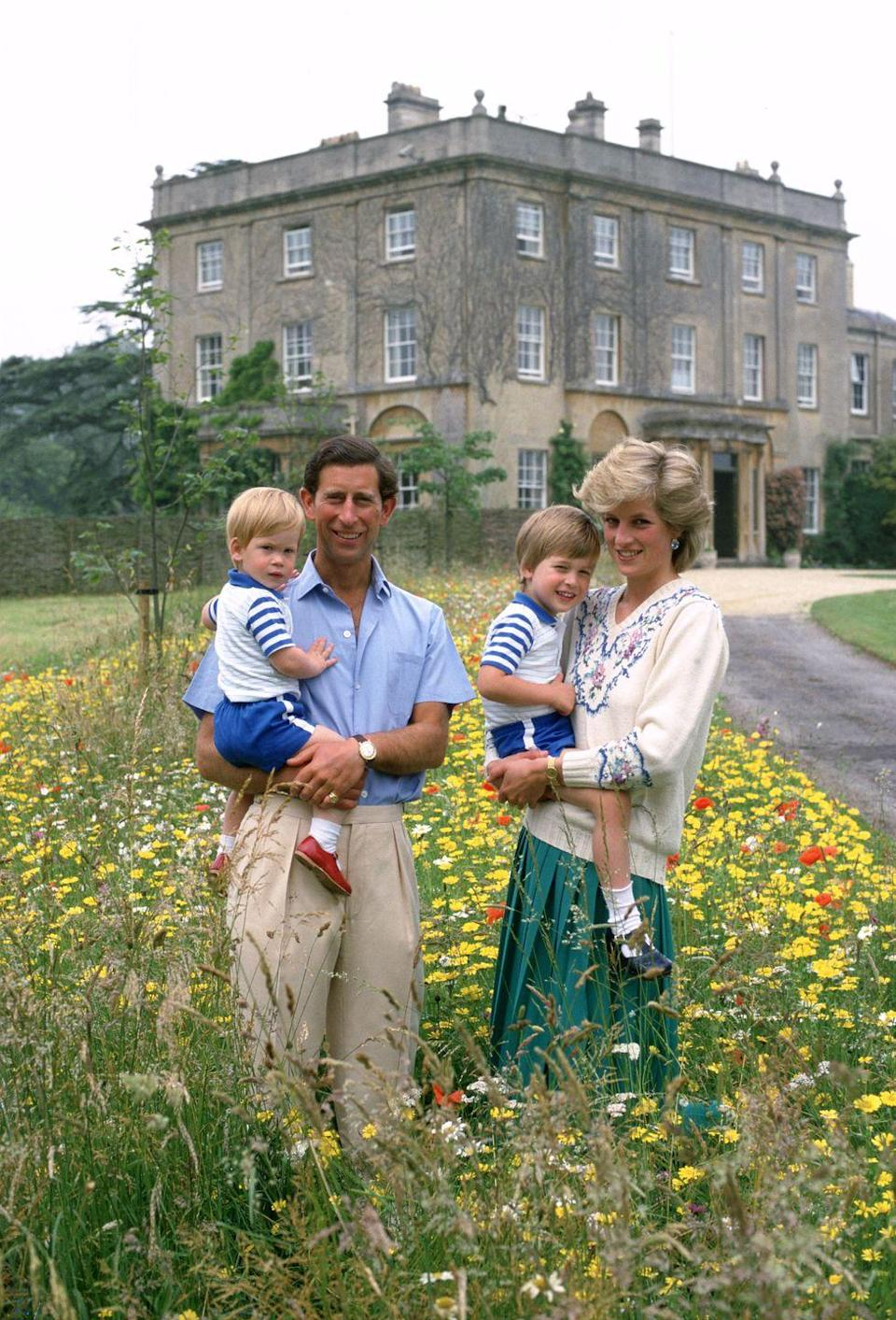 <p>Here, the Princess of Wales poses with Prince Charles and their sons in the wildflower meadow at Highgrove on July 14, 1986.</p>