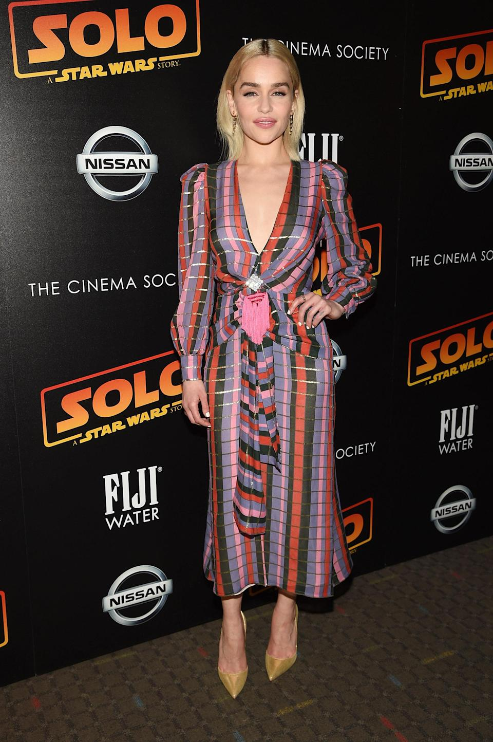 """<p>'Game of Thrones"""" star Emilia Clarke was all smiles wearing a colourful Alessandra Rich dress to a screening of 'Solo: A Star Wars Story'. <em>[Photo: Getty]</em> </p>"""