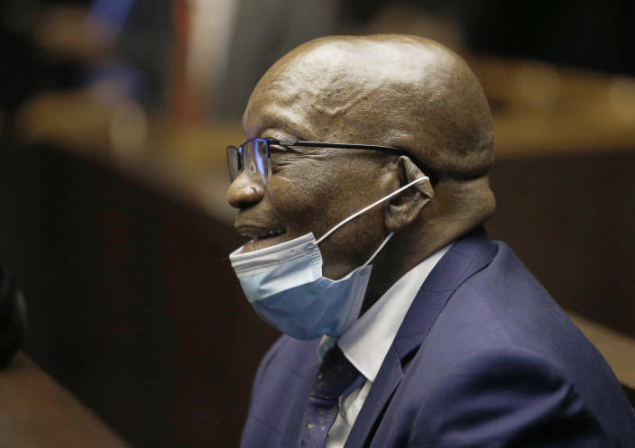 Former South African President Jacob Zuma, in the High Court in Pietermaritburg, South Africa, Monday, May 17, 2021. Zuma and French arms company Thales face corruption, racketeering and money laundering charges linked to an arms deal. (AP Photo/Rogan Ward/Pool)