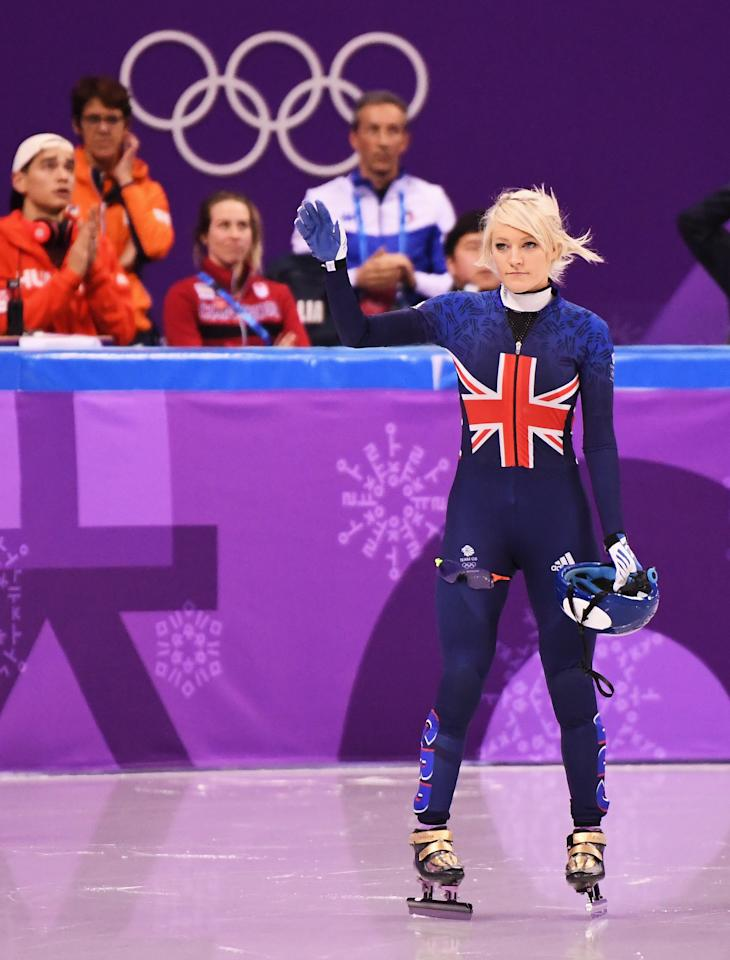 <p>Elise Christie of Great Britain waves before the Ladies' 500m Short Track Speed Skating final on day four of the PyeongChang 2018 Winter Olympic Games at Gangneung Ice Arena on February 13, 2018 in Gangneung, South Korea. (Photo by Harry How/Getty Images) </p>