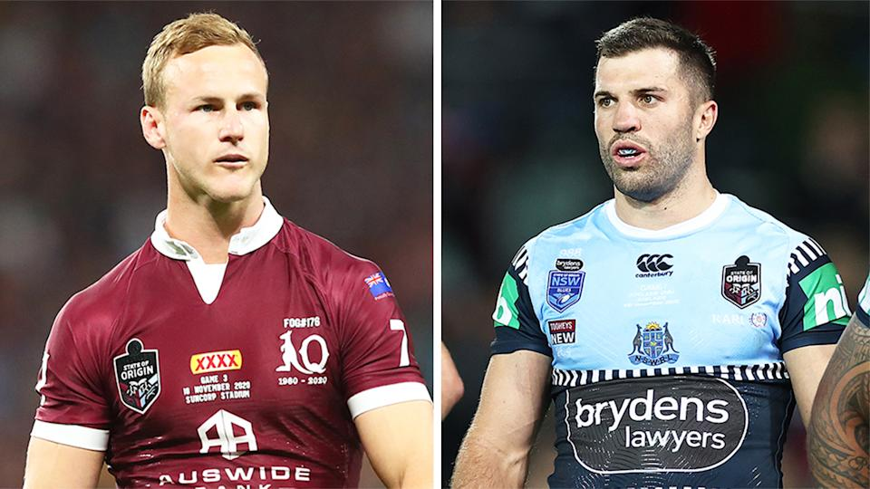 James Tedesco (pictured right) during State of Origin and (pictured left) Daly Cherry-Evans before Origin.