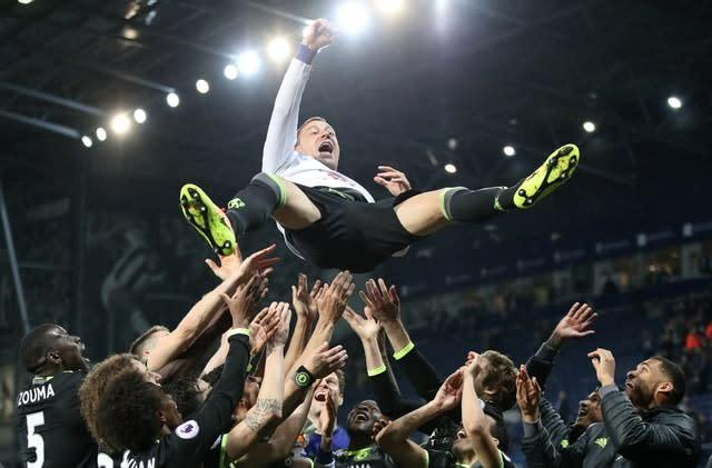 Terry was an unused substitute as Chelsea clinched the Premier League title in his final season (Nick Potts/PA)
